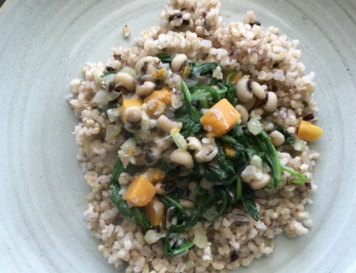 Black Eye Peas with Butternut Squash and Spinach